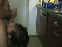 Cheating Wife Fucks Lover in the Kitchen and Swallows Cum