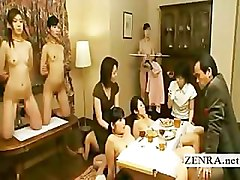 Bizarre Japanese nudist bondage dining room slaves