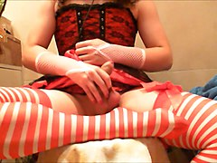 Crossdresser stroking, milking with vibrator