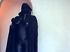 catsuit, gloves, cape, spandex hood, collar, leash, cuffs