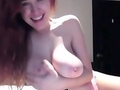 amazing redhead housewife with big natural tits on webcam