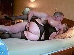 Granny In Black Open Hose Fucks