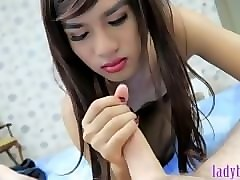 ladyboy beauty bee gives a pov handjob and gets anal poked