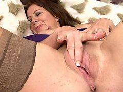 Sweet Mature In Stockings Masturbates