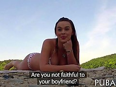 euro bikini chick chats to a pervy public agent by the lake