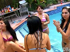 bikini girls get the party started with a nude stripper