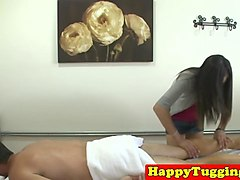 skinny asian masseuse milks cock