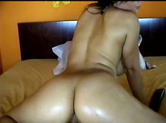 Perfect chick rides dildo on webcam