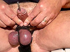 I oil my cock and tied balls  precum and insertion