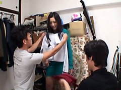 this hot japanese chick in green dress makes undressing a sexy affair