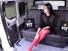 fucked in traffic  curvy brunette fucks in public on the backseat of a car