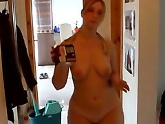 beautiful wife cleaning the house all naked while i film her on cam