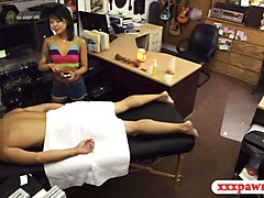 skinny asian babe fucked by pawn keeper in his office