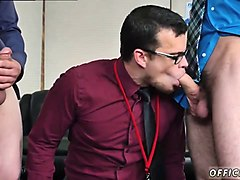 straight office boy swallows two cocks at work