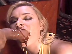 Crystal Dawn Licks Chocolate Sauce Off An Enormous Erection