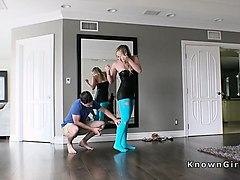 blonde girlfriend in cut blue pantyhose fucks