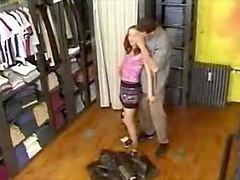college girl in pantyhose roughly fucked in a shop