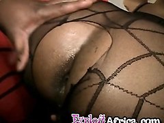 ebony chick gets booty and mouth filled by big black rod