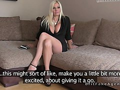 huge boobs blonde in pantyhose fucked in casting