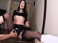 slender japanese mom in stockings has a young man pleasing