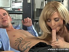 Hottest pornstars Sonny Hicks, Britney Young, Nina Hartley in Incredible Threesomes, Blonde sex scene
