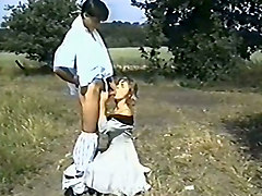 dude with small hairy prick fucking his german girlfriend outdoors