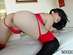 naughty asian tgirl yuri myeon rubs one out
