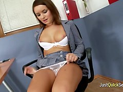 this horny teen is one naughty office girl and she masturbates at work