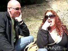 chubby red haired bbw knows how to please naughty blondie outdoors