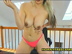 blonde big ass mom stripped naked and masturbates
