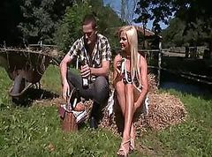 Redneck hoochie Jenna Lovely adores outdoor sex on the farm