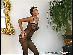Chick Lolling In Bodystocking