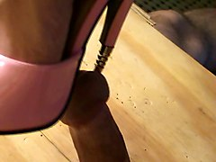Pink Metal Heel Peehole Insertion.